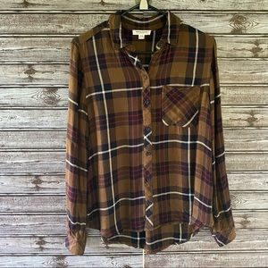 Beachlunchlounge Plaid Button-Down Top Size M